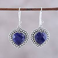 Lapis lazuli dangle earrings, 'Fervent Love' - Blue Lapis Lazuli and Sterling Silver Heart Dangle Earrings