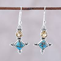 Citrine dangle earrings, 'Opulent Stars' - Sterling Silver Citrine and Composite Turquoise Earrings