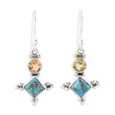 Sterling Silver Citrine and Composite Turquoise Earrings