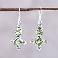 Peridot dangle earrings, 'Opulent Stars' - Sterling Silver and Green Peridot Star Dangle Earrings