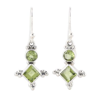Sterling Silver and Green Peridot Star Dangle Earrings