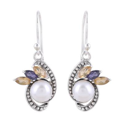 Silver Cultured Pearl Citrine and Iolite Dangle Earrings