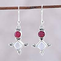 Rainbow moonstone and agate dangle earrings, 'Opulent Stars' - Pink Agate and Rainbow Moonstone Star Dangle Earrings
