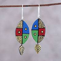 Ceramic dangle earrings, 'Blissful Colors' - Leaf-Themed Ceramic Dangle Earrings Crafted in India