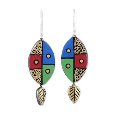 Leaf-Themed Ceramic Dangle Earrings Crafted in India