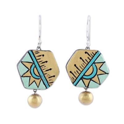 Hexagonal Ceramic Dangle Earrings Crafted in India