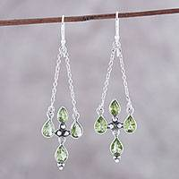 Peridot dangle earrings, 'Green Flare' - Sterling Silver and Green Peridot Dangle Earrings