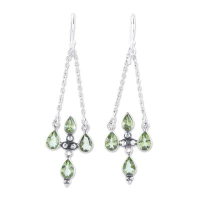 Sterling Silver and Green Peridot Dangle Earrings