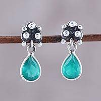 Onyx dangle earrings, 'Green Dewdrops' - Petite Indian Sterling Silver and Green Onyx Dangle Earrings