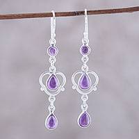 Amethyst dangle earrings, 'Violet Rain' - Sterling Silver and Purple Amethyst Dangle Earrings