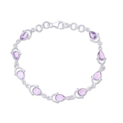 Sterling Silver and Purple Faceted Amethyst Link Bracelet