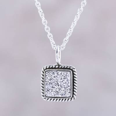 Druzy pendant necklace, 'White Sparkle' - Sterling Silver White Druzy Square Pendant Necklace