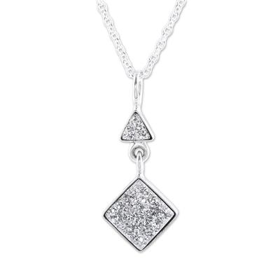 Sterling Silver Geometric Drusy Quartz Pendant Necklace