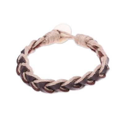 Brown Leather Coconut Fiber Cotton and Bone Braided Bracelet