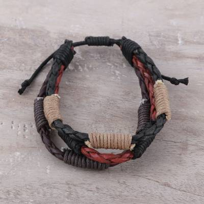 Men's leather and cotton braided bracelet, 'Triple Power' - Men's Leather and Cotton Cord Adjustable Braided Bracelet
