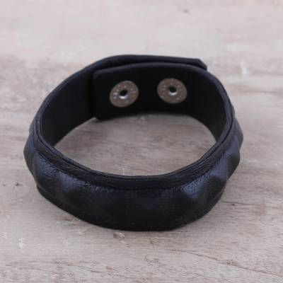 Men's leather wristband bracelet, 'Dark Style' - Handcrafted Men's Black Leather Edgy Wristband Bracelet