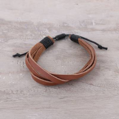 Men's leather wristband bracelet, 'Interlaced Style' - Men's Brown and Black Soft Leather Wristband Bracelet