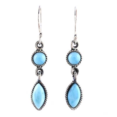 Larimar dangle earrings, 'Sky Bliss' - Natural Larimar Dangle Earrings from Thailand