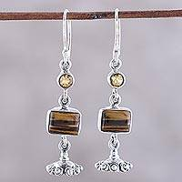Tiger's eye and citrine dangle earrings, 'Magnificent Jhumki' - Tiger's Eye and Citrine Dangle Earrings from india