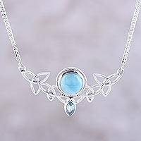Larimar and blue topaz pendant necklace, 'Glorious Sky' - Larimar and Blue Topaz Pendant Necklace from India