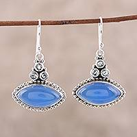 Blue topaz and chalcedony dangle earrings,
