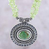 Peridot beaded pendant necklace, 'Gleaming Glamour' - Peridot and Composite Turquoise Beaded Pendant Necklace