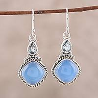Blue topaz and chalcedony dangle earrings, 'Blissful Blue' - Sterling Silver Blue Topaz and Chalcedony Dangle Earrings