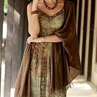 Wool shawl, 'Forever Elegant in Chocolate' - Handwoven Wool Shawl in Chocolate from India