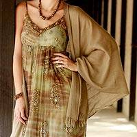 Wool shawl, 'Forever Elegant in Sand' - Handwoven Wool Shawl in Sand from India