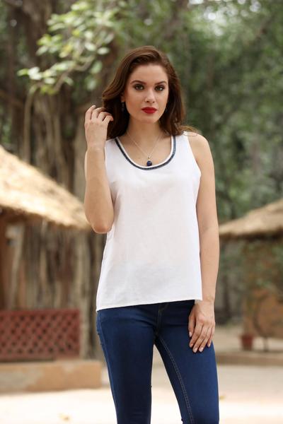 a0cd912b3e7 Sleeveless Cotton and Linen Blend Blouse - Ivory Whisper