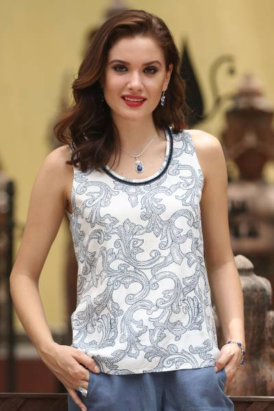 Sleeveless viscose blouse, 'Happy Vines' - Printed White and Indigo Viscose Sleeveless Top from India