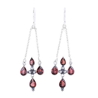 Sterling Silver and Red Garnet Dangle Earrings