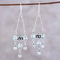 Blue topaz chandelier earrings, 'Glittering Dance' - Sterling Silver and Blue Topaz Dotted Chandelier Earrings