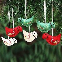 Wool felt ornaments, 'Christmas Pigeons' (set of 6) - Assorted Color Wool Felt Pigeon Ornaments (Set of 6)