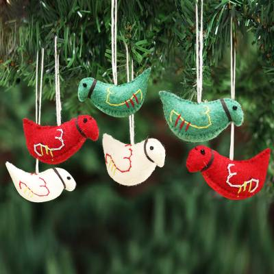 Wool felt ornaments, 'Christmas Pigeons' (set of 6) - Assorted Color Wool Felt Pigeon Ornaments (Set of 6)