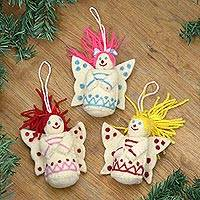 Wool felt ornaments, 'Christmas Fairies' (set of 3) - Set of 3 Wool Felt Christmas Fairy Ornaments