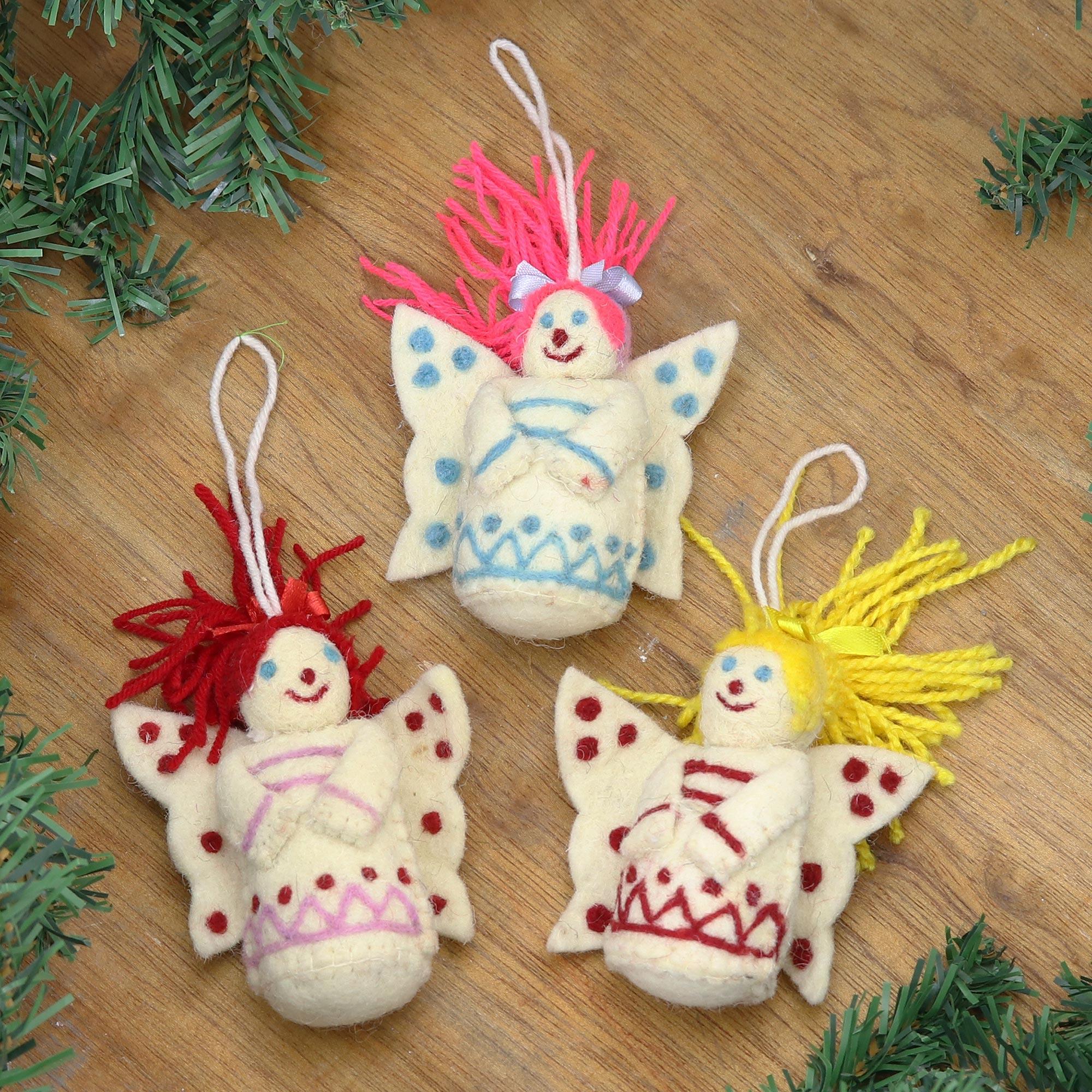 Felt Christmas Ornaments.Set Of 3 Wool Felt Christmas Fairy Ornaments Christmas Fairies