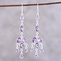 Amethyst chandelier earrings, 'Leafy Adornment' - Sterling Silver and Purple Amethyst Chandelier Earrings