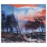 'Storm' - Storm Scene Original Watercolor on Paper from India