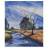 'Sunny Morning' - River Scene Watercolor Landscape Painting