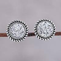Featured review for Drusy quartz stud earrings, Round Sparkle