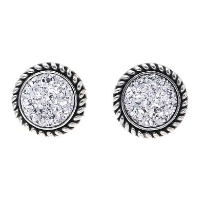 Sterling Silver Round White Drusy Quartz Stud Earrings