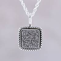 Drusy pendant necklace, 'Grey Sparkle' - Sterling Silver and Grey Drusy Quartz Pendant Necklace