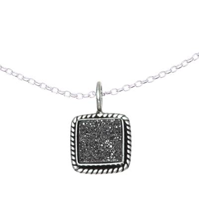 Sterling Silver and Grey Drusy Quartz Pendant Necklace
