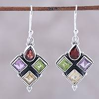 Multi-gemstone dangle earrings, 'Sparkling Quartet' - Indian Garnet Citrine Peridot and Amethyst Dangle Earrings