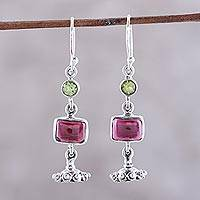 Garnet and peridot dangle earrings, 'Magnificent Jhumki' - Garnet and Peridot Jhumki Dangle Earrings from India