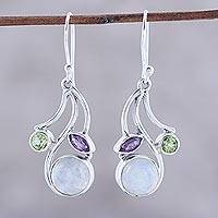 Multi-gemstone dangle earrings, 'Triple Fascination' - Multi-Gemstone Dangle Earrings from India