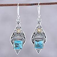 Citrine dangle earrings, 'Mythic Ocean' - Citrine and Composite Turquoise Dangle Earrings from India