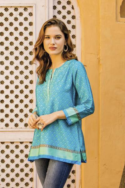 Embroidery trim tunic, 'Flowers of the Sea' - Embroidery Trim Tunic in Azure and Aqua from India