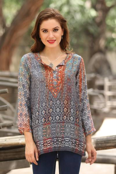 Embroidered tunic, 'Fashionable Intricacy' - Artisan-Embroidered Tunic from India